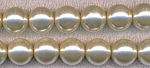 Cream White Glass Pearls 8mm Round Glass Pearl Beads Full Strand CLEARANCE