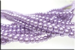 4mm Glass Pearls, LIGHT LAVENDER PURPLE Glass Pearls
