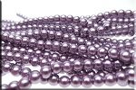 6mm Glass Pearl Round Bead Strand, MISTY PURPLE