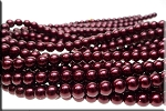 GARNET 8mm Glass Pearls Round Glass Pearl Beads Strand