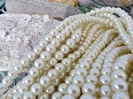 White 8mm Glass Pearls Round Glass Pearl Beads Strand, NATURAL WHITE Ecru Off-white