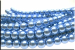 8mm Glass Pearl Round Bead Strand, LIGHT SAPPHIRE BLUE