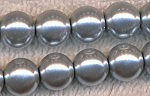 4mm Glass Pearl Round Bead Strand, SILVER
