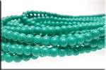 6mm Glass Pearl Round Bead Strand, OPAQUE GREEN TURQUOISE