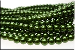 6mm Glass Pearls, DARK OLIVE GREEN - CLEARANCE