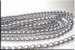 6mm Glass Pearl Round Bead Strand, SILVER