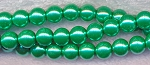 6mm Glass Pearl Round Bead Strand, DARK SEA FOAM GREEN
