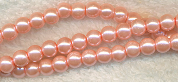 4mm Glass Pearls, CAMEO PINK Glass Pearls