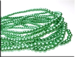 4mm Glass Pearls, DARK SEA FOAM GREEN Glass Pearls