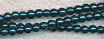 4mm Glass Pearl Round Bead Strand, DARK TEAL