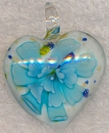Murano Style Glass Pendant, Heart Flower Glass Focal, Blue-White Lampworked Glass Pendant