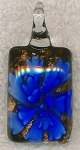 Murano Style Glass Pendant, Flower Lampwork Glass Focal, Blue