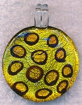 Murano Style Glass Pendant, Disc Cat Print Foil Glass Focal Pendant