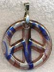 Peace Pendant Necklace, Bailed Glass Amethyst Topaz