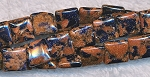 Black Flecked Goldstone Beads, 8mm Chicklet Square Pillow Beads