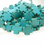 15mm Turquoise Cross Beads
