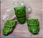 Carved Owl Beads, Green Turquoise