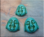 Turquoise Buddha Beads, Laughing Buddha Magnesite Bead - CLEARANCE