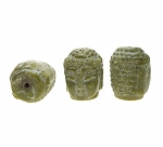 Carved Green Jade Buddha Beads 28x22mm