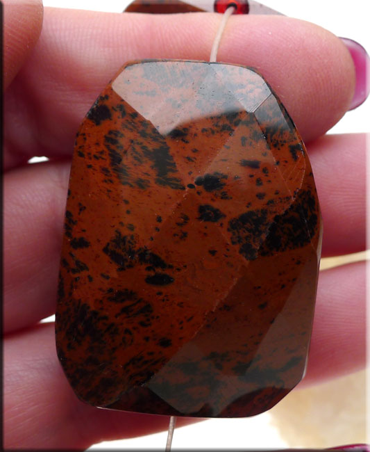 Jasper pendants 40x30mm large faceted gemstone focal beading mahogany jasper focal pendant bead aloadofball Image collections