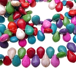 Multicolored Magnesite Teardrop Briolette Beads, 14x10mm