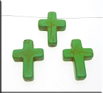 Green Turquoise Magnesitge Gemstone Cross Pendant Bead, 25x18mm