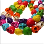 Large Multicolor Skull Beads, 3D Stone Skulls, Large