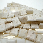 White Turquoise Magnesite Beads 14mm Square Tile Beads - CLEARANCE