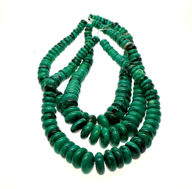 Green Turquoise Graduated Rondelle Necklace Beads