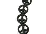 Peace Sign Beads, Black Magnesite Small 15mm