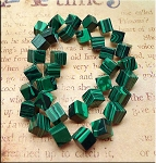 Malachite Beads, 12x10x8mm Diamond Cube Malachite Beads Strand