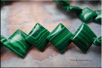 Malachite Beads, 16mm Overlapping Diamond Malachite Beads Strand