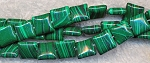 Malachite Beads, 8mm Square Chicklet Pillow Malachite Beads Strand - CLOSEOUT