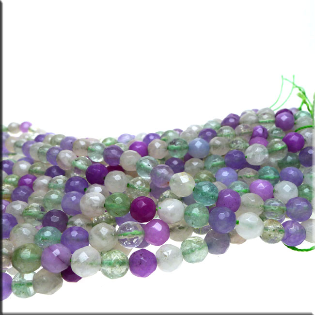 Gemstone Beads, Mixed Round 8mm Quartz Jade and Fluorite