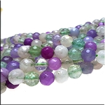 8mm Faceted Round Mixed Gemstone Beads : Quartz Jade and Fluorite