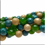 10mm Faceted Round Mixed Beads Jasper Jade Malachite, Mixed Gemstone Beads, Strand