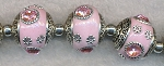 Tibetan Beads, Pink with Pink Crystals, 17x20mm Kashmiri Beads