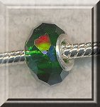 EMERALD European Style Large Hole Bead, Faceted Glass with Silver-finished Brass Metal Grommets, Big Hole Faceted Rondelle, 4.5mm Hole (1)