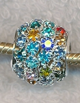 Multicolored Crystal Studded Large Hole Beads, European Style Crystal Big Hole Beads 15x16mm (1)