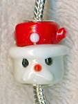 Lampworked Glass Large Hole Bead, Christmas Santa Claus Bead