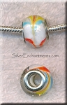 Multi-Swirl European Style Glass Large Hole Bead, Lampworked Glass Big Hole Rondelle, 4.5mm Hole (1)