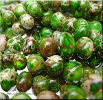 Green Sea Sediment Jasper Beads, Freeform Nugget Gemstone Beads, avg 8x10mm - CLEARANCE