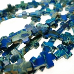 Blue Sea Sediment Jasper Cross Beads 16x12mm