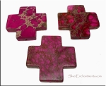 Fuschia-Pink Sea Sediment Jasper Large Cross Pendant 45mm Gemstone Cross Pendant Beads (1)