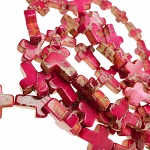 Pink Sea Sediment Jasper Cross Beads, 20x15mm