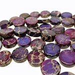 Purple Sea Sediment Jasper Beads, 16mm Coin Beads
