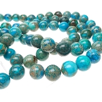 Turquoise Sea Sediment Jasper Beads, 14mm Round Beads