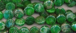 Green Sea Sediment Jasper Beads, 16mm Coin Beads, Full Strand
