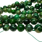 Green Sea Sediment Jasper Beads, 14mm Round Beads