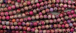 Multicolor Sea Sediment Jasper Beads, 6mm Round, Strand Pink Purple